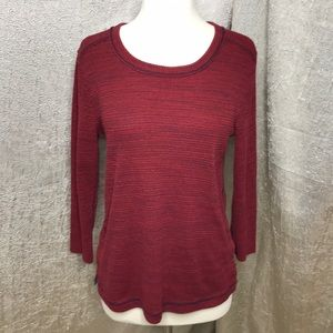 Madewell Red Heathered Side Split Thermal Top LG